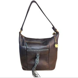 Lucky Brand with Tassel Black Leather Hobo Bag